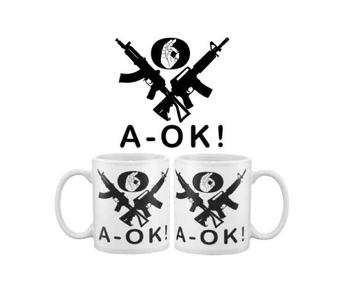 More Bigly A-OK hand black rifles coffee mug