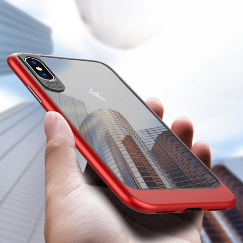 buy online e4072 9a62b Ultra Thin Transparent TPU + PC Cases For iPhone X
