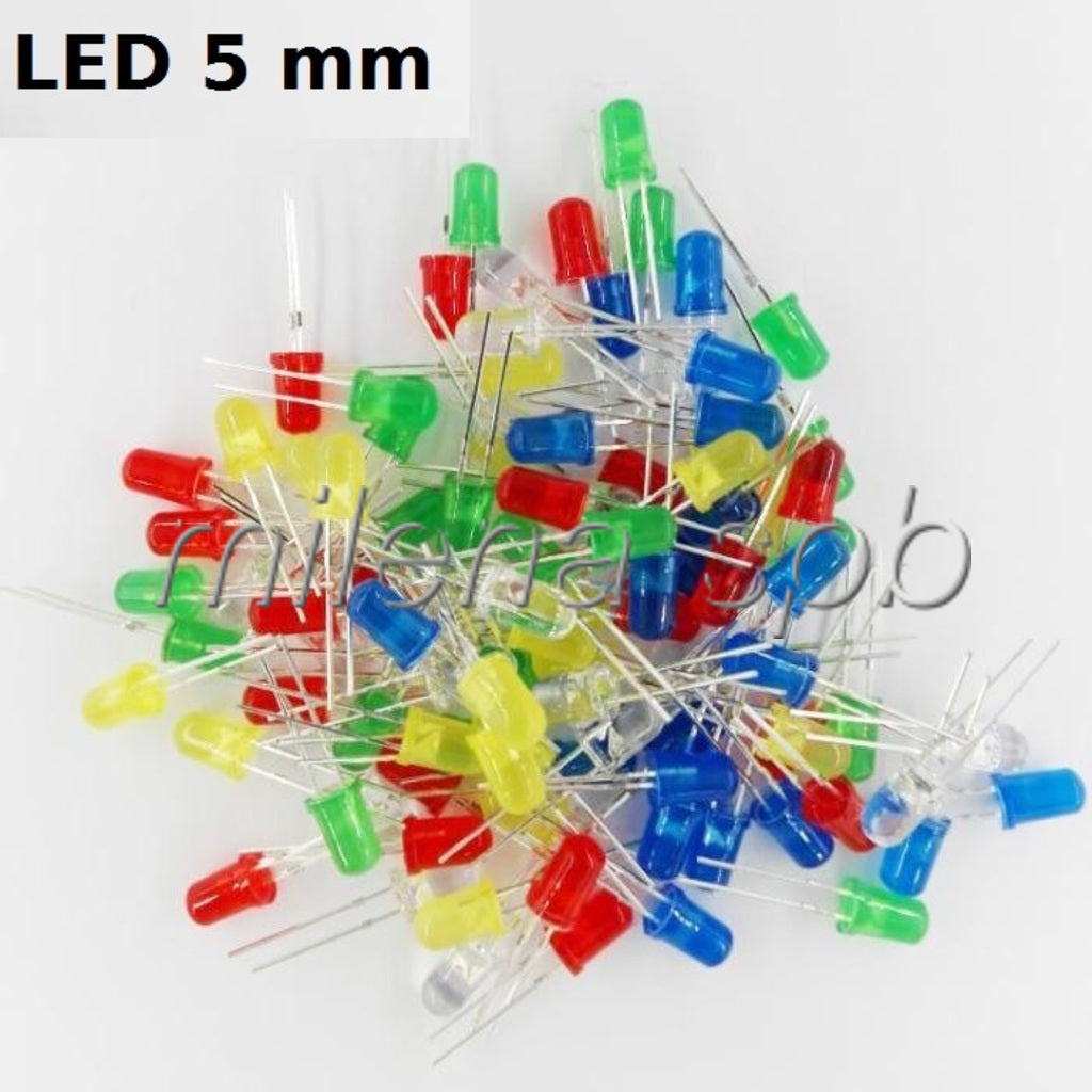 LOT de 100 LED 5 mm Blanc Jaune Rouge Vert Bleu