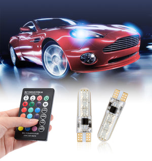 T10 W5W LED Car Lights LED Bulbs RGB With Remote Control Strobe Led Lamp Reading Lights White Red Amber 12V