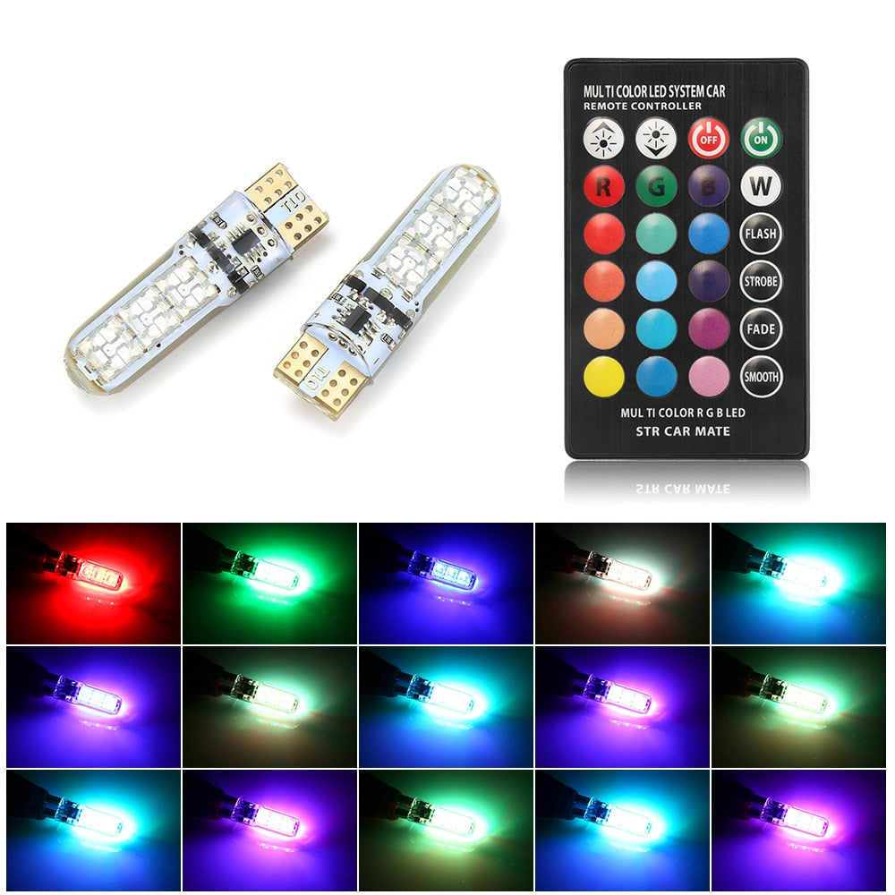 T10 W5W LED Car Lights LED Bulbs RGB With Remote Control  ampoule LED auto