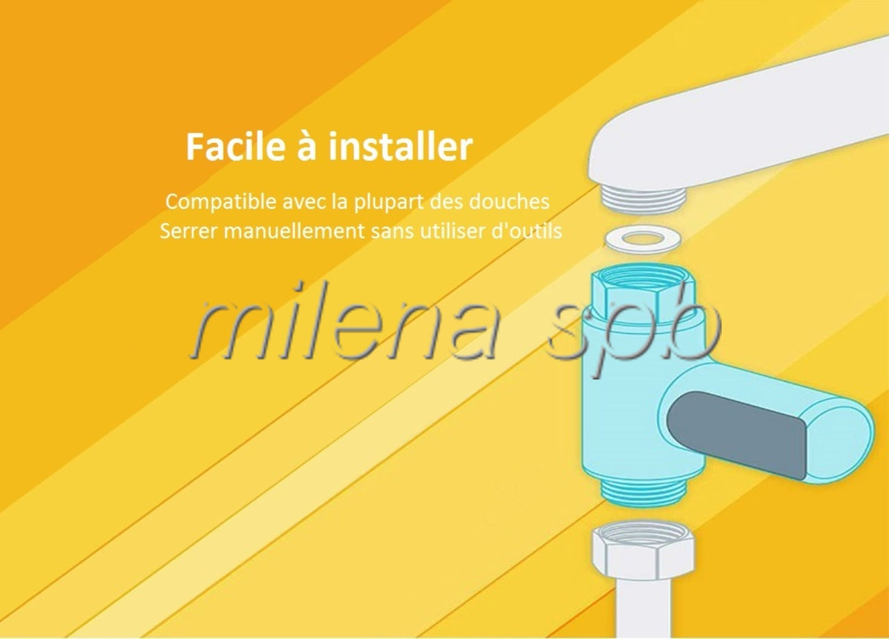 pose du thermomètre de douche à afficheur digital