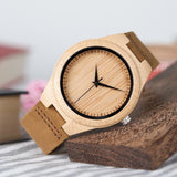 Leather and Bamboo Wooden Watch - Dude Life