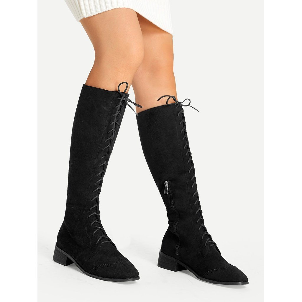 Lace-Up Knee Boots