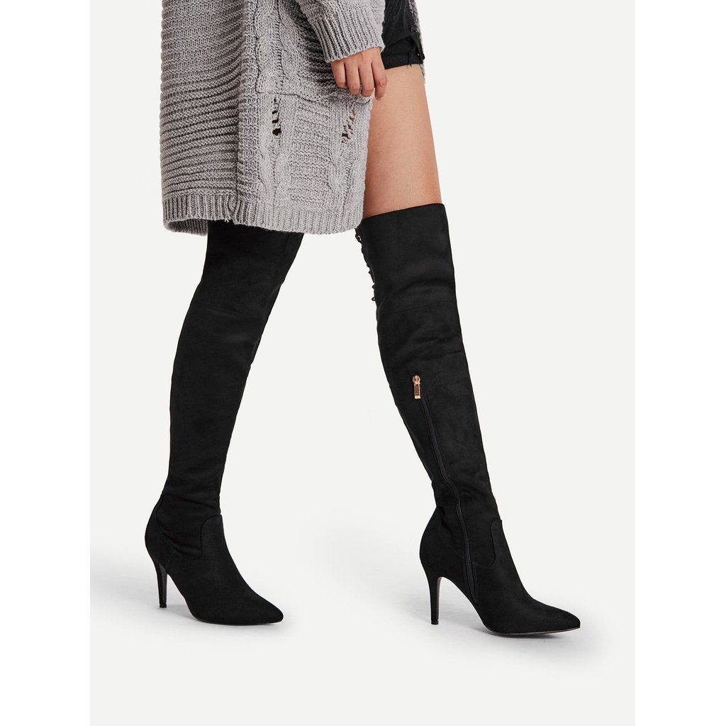Eyelet Back Over Knee Stiletto Boots