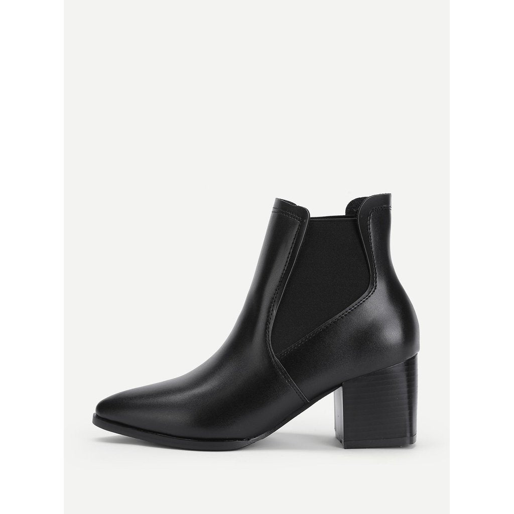 Faux Leather Block Heeled Ankle Boots