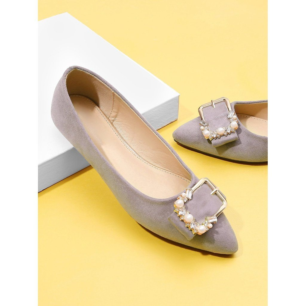 Buckle Front Pointed Toe Flats With Jewelry