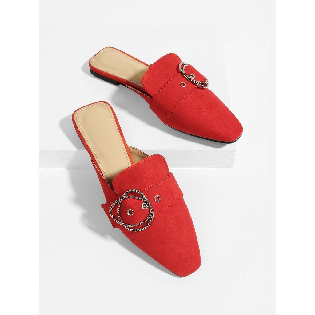Buckle Front Square Toe Flats