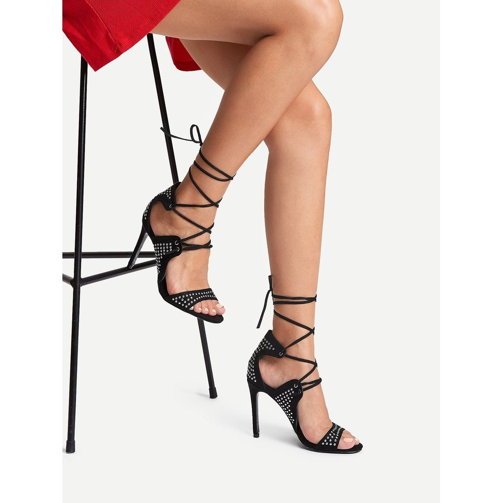 Studded Overlay Lace Up Heels