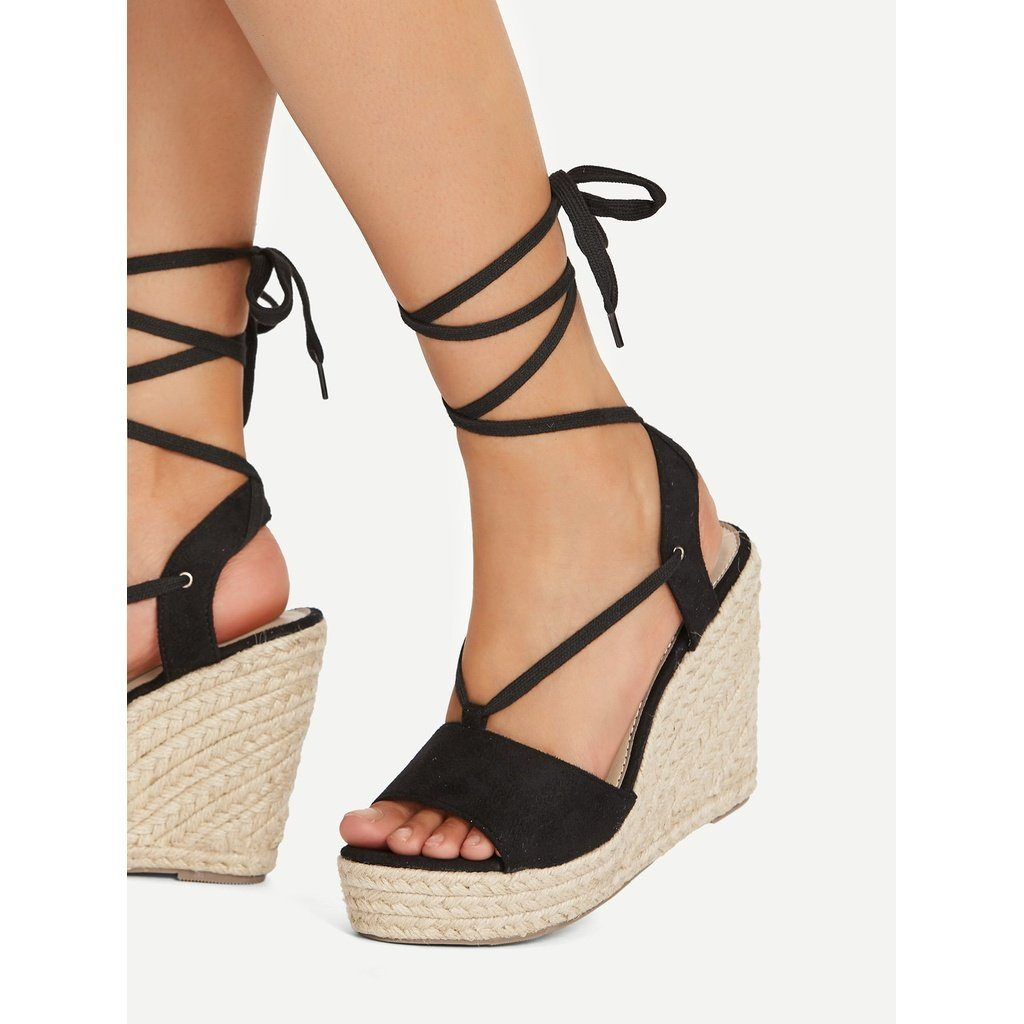 Peep Toe Lace Up Wedge Sandals