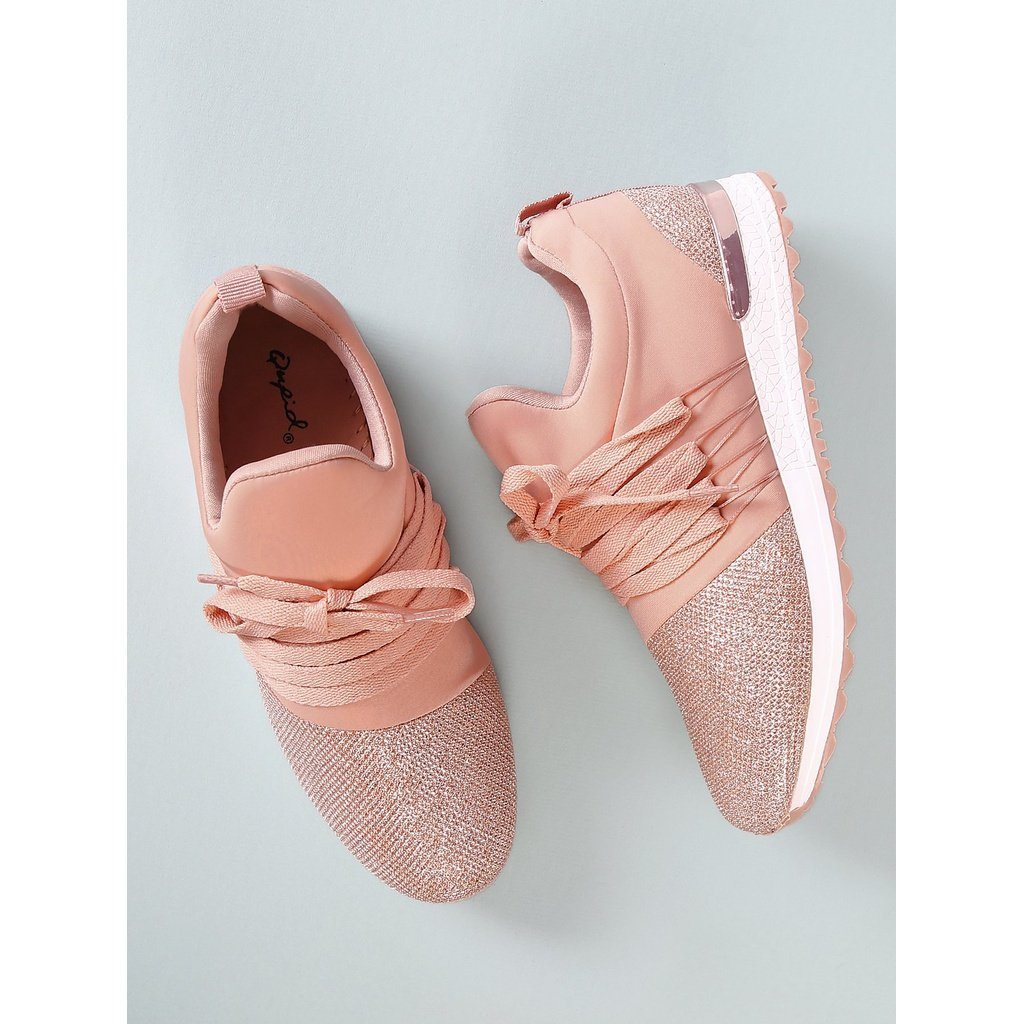 Lace Up Glitter Contrast Sneakers