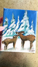 Load and play video in Gallery viewer, You & Me - Small Original Acrylic Painting of mother deer and her baby fawn