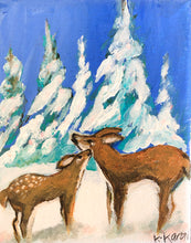 Load image into Gallery viewer, You & Me - Small Original Acrylic Painting of mother deer and her baby fawn
