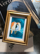 Load image into Gallery viewer, We Three - Mini Framed Original Bird Watercolor Painting hand painted birds gift