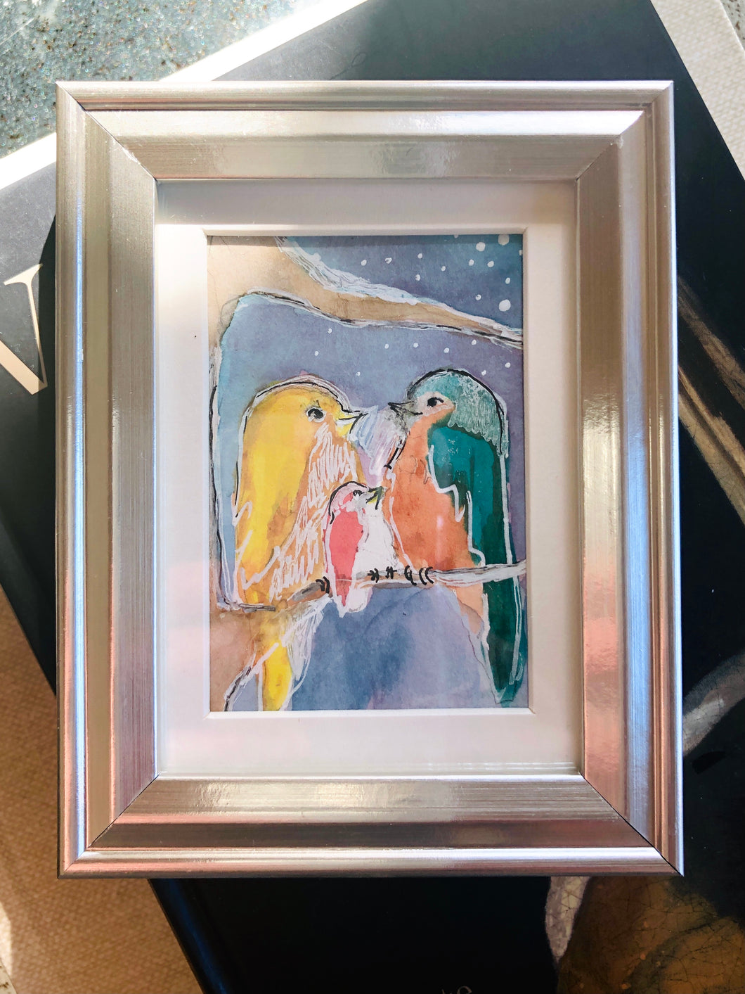 In This Together - Mini Framed Original Bird Watercolor Painting hand painted birds gift