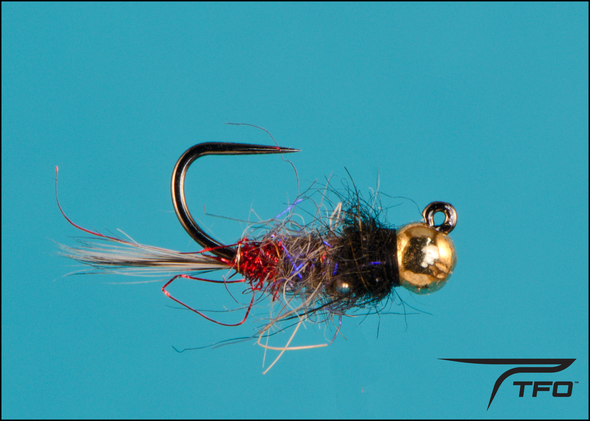 Tungsten Beadhead Jig Red Butt/Black