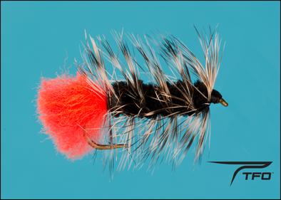 Wolly Worm - Black/Grizzly - Red Tail