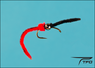 Beaded Worm Garden Hackle Black/Red Fly fishing nymph | TFO - Temple Fork Outfitters Canada