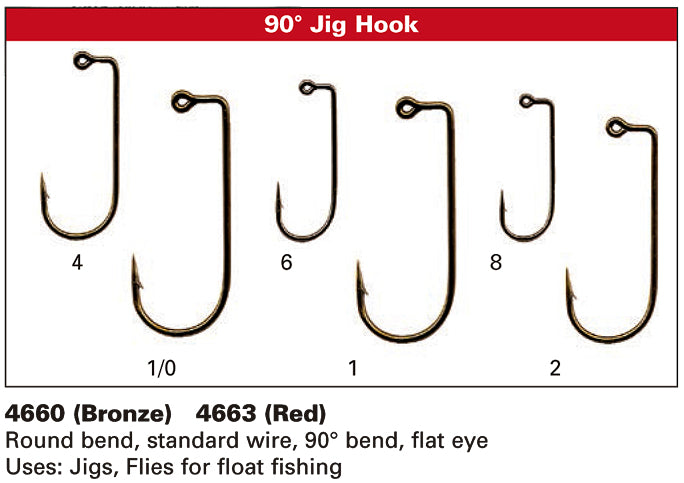 Standard 90 Degree Aberdeen Jig /& Fly Tying Hooks NEW! DAIICHI 4660 HOOK
