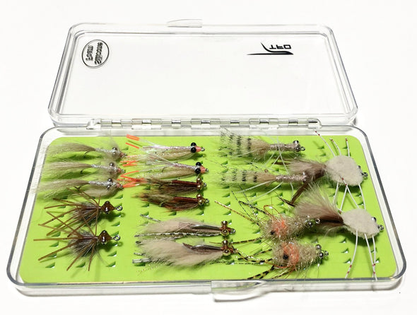 Saltwater fly selection with fly box