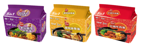 Unif 5s Instant Noodles imported by Goh Yeow Seng Pte Ltd is available at defoodiemart.com. 3 flavors: Beef Flavor with Sauerkraut, Roasted Beef Flavor, Stewed Pork Chop Flavor