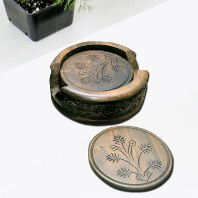 WOODEN ROUND SHAPE COASTER SET