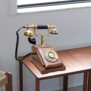 Wooden Handicraft Model Antique Vintage Telephone