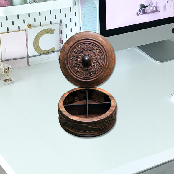 Wooden Round Shapes Dry Fruit Box