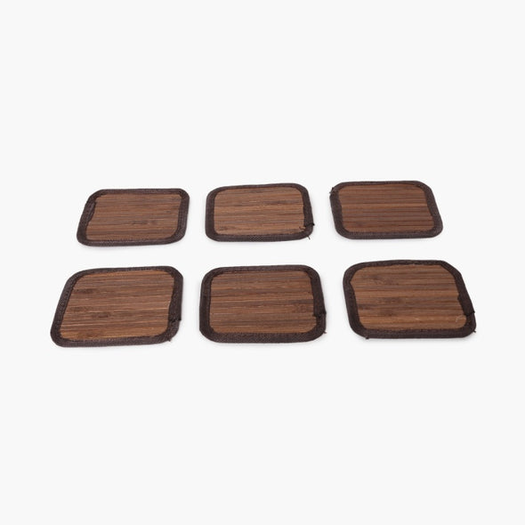 Bamboo Coasters - Pack Of 6 Pcs - Wooden Home Decor