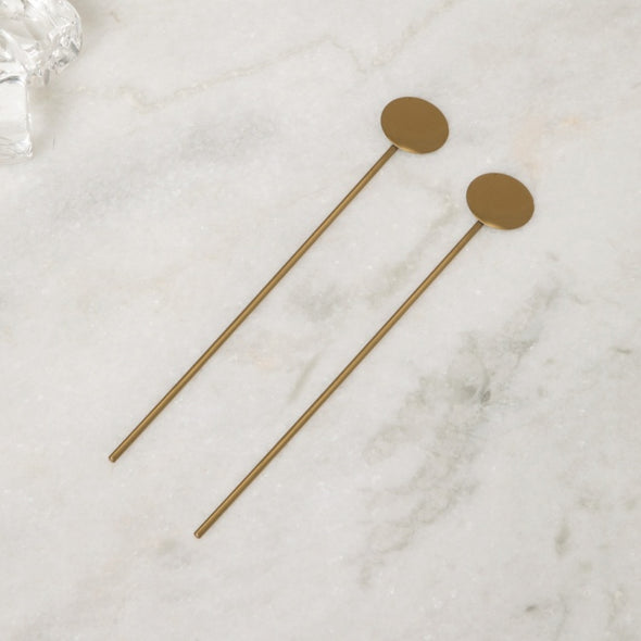 Solid Stainless Steel Cocktail Spoon Set- Set Of 2 - Wooden Home Decor