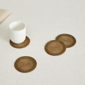 Beaded Coaster- Set Of 4 Pcs - Wooden Home Decor