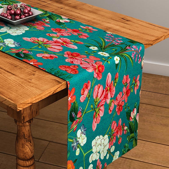 "Green Floral Print Rectangular 13"" x 48"" Cotton Table Runner - Wooden Home Decor"