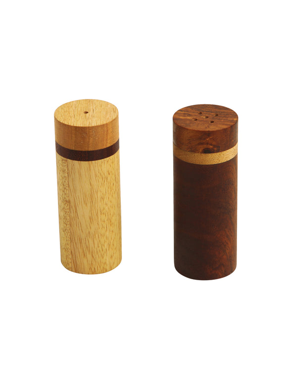 Set Of 2 Brown Handcrafted Cylindrical Salt & Pepper Shakers - Wooden Home Decor