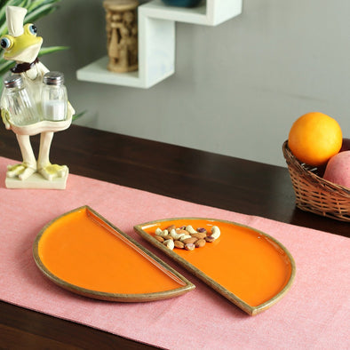 Orange & Brown Serving D Platters - Wooden Home Decor