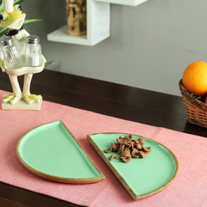 Turquoise Blue & Brown Serving D Platters - Wooden Home Decor