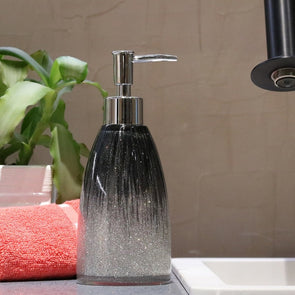 Black & Grey Printed Liquid Soap Dispenser - Wooden Home Decor