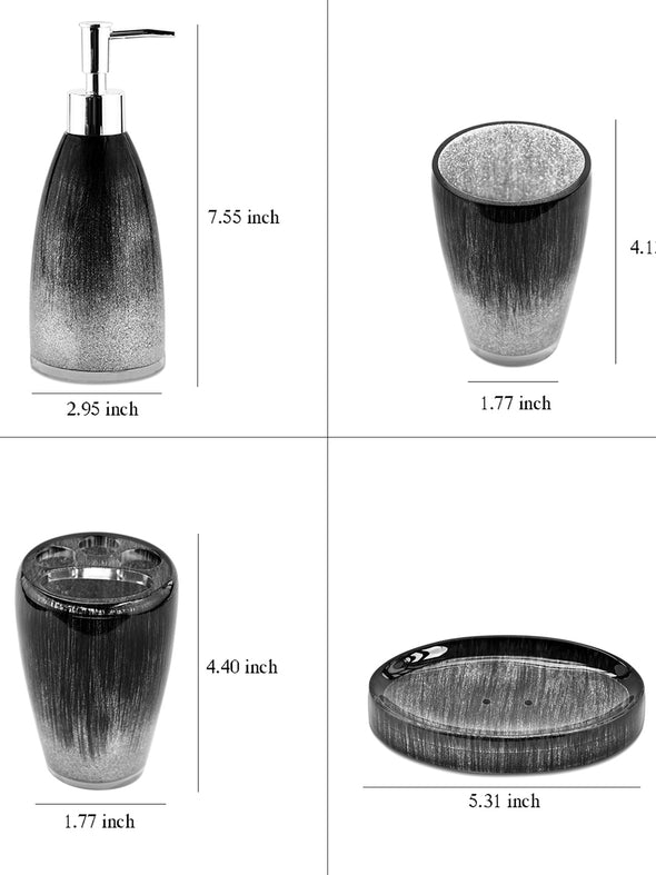 Set of 4 Printed Bath Accessories - Wooden Home Decor