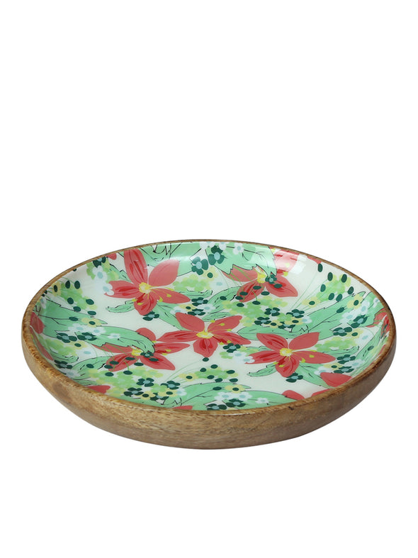 Green & Red Floral Print Serving Platter - Wooden Home Decor