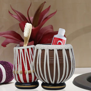 Brown & Red Textured Toothbrush Holder - Wooden Home Decor