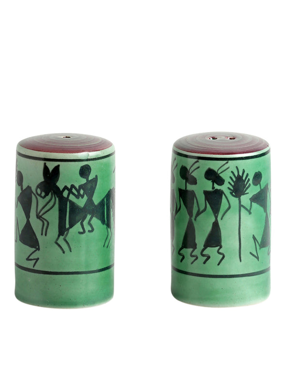 Green 2-Pieces Printed Ceramic Salt & Pepper Shaker - Wooden Home Decor