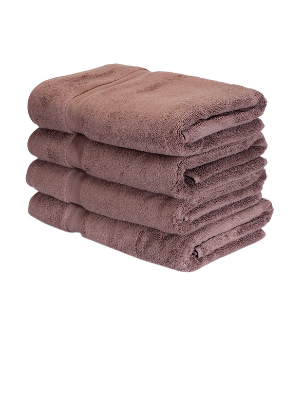 Set of 4 Brown 500 GSM Bath Towels - Wooden Home Decor
