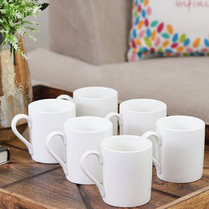 Set Of 6 White Solid Tea Mugs - Wooden Home Decor