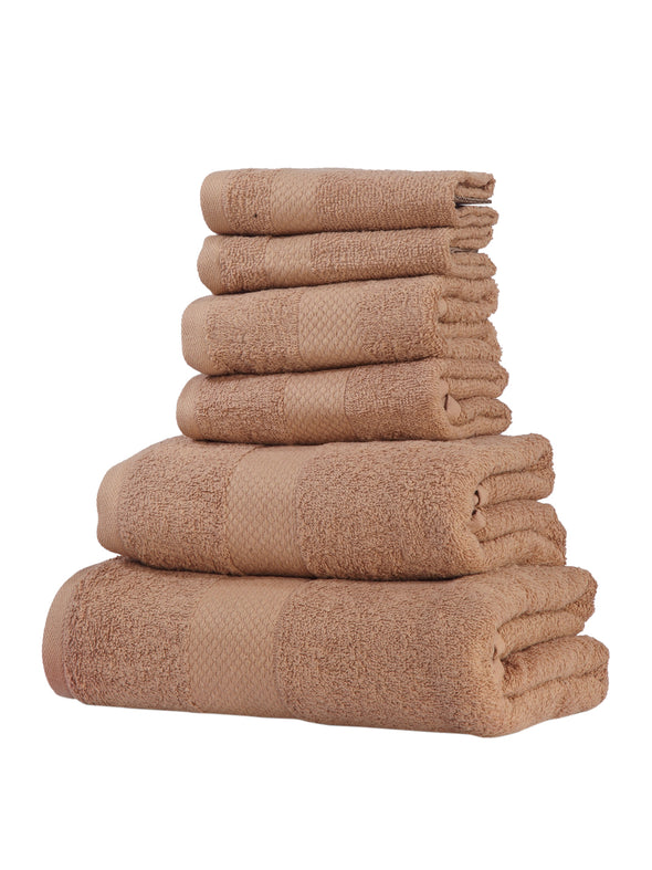 Set of 6 Beige Cotton 500 GSM Towels - Wooden Home Decor