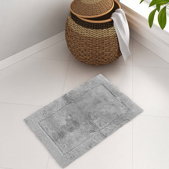 Grey Rectangular Small Bath Rug - Wooden Home Decor