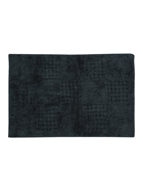 Navy Blue Solid Anti Skid Bath Rug - Wooden Home Decor