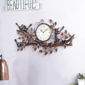 Multicolour Metal Wall Clock - Wooden Home Decor