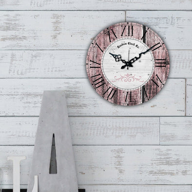 Grey Round Printed Analogue Wall Clock - Wooden Home Decor