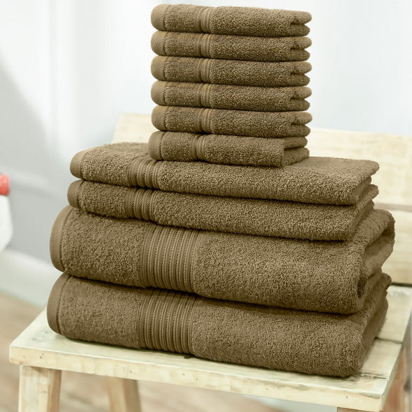 Brown Solid Set Of 10 630 GSM Cotton Bath Towel - Wooden Home Decor
