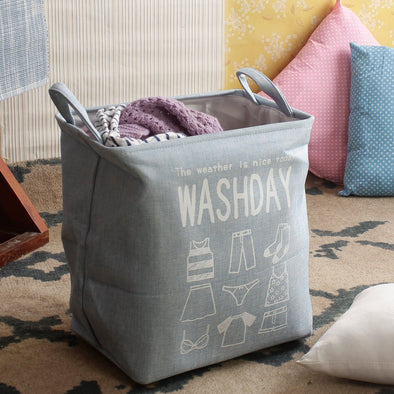 Blue Printed Foldable Laundry Bag - Wooden Home Decor