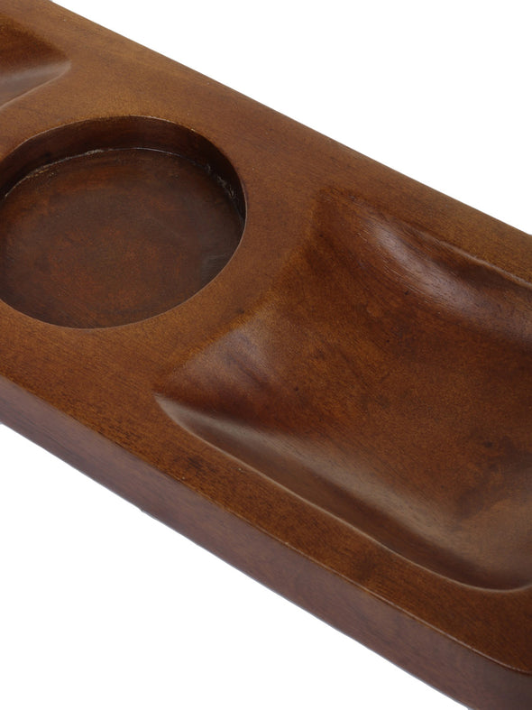 Brown Solid Wooden Handicraft Condiment Serving Tray - Wooden Home Decor